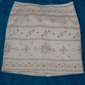 White House Black Market Bling Embroidered Skirt